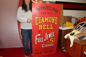 "Large Diamond Bell & Full Jewel 5c Cigar Tobacco Store Gas Oil 48"" Metal Sign"