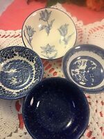 Vintage Mismatched China Blue and White Soup / Cereal Bowls Set of 4        #148