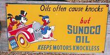 LARGE VINTAGE SUNOCO MOTOR OIL   PORCELAIN SIGN  GAS OIL DONALD DUCK 1930s