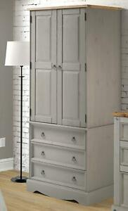 Corona Grey 2 Door 3 Drawer Bedroom Wardrobe Antique Wax Finish
