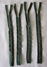 """Four New 11"""" Size 3 Talon Silver Metal Zipper Purse Pocket Trousers Green Nylon"""