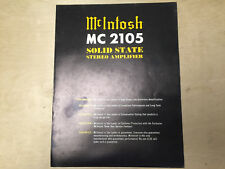 Vtg McIntosh Brochure ~ MC 2105 Amplifier Amp ~ Original