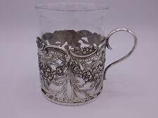 schöner Teeglashalter Silber 800 punziert Blumen Dekor #1-3