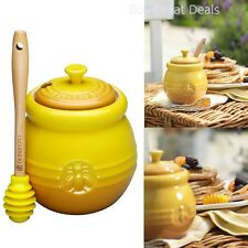 NEW 16 Ounce Stoneware Honey Pot With Silicone Honey Dipper