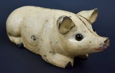 Sitting Pig with Glass Eyes Cast Iron Still Coin Bank