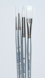 4 pc Silver White Artist Brush Set  List $33.95 NOW ONLY $12.