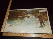 Rare Antique Original VTG 1897 Phil Pa Press Unconquered Fishing Litho Art Print