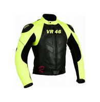 Valentino Rossi VR 46 Motorcycle Motorbike Leather Racing Jacket Yellow Black