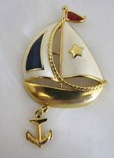 Avon Ship Sail Boat Brooch Pin Enamel Red White Blue Anchor Charm Nautical 3""