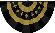Fleur De Lis Black Gold Bunting Flag 3x5 ft New Orleans Mardi Gras Saints Party