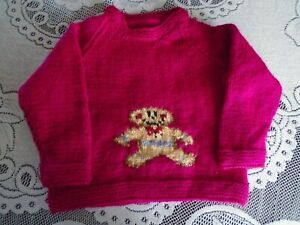 """New Hand Knitted Gingerbread Man Sweater 22/24"""" chest (aprox 2/3 yrs)"""