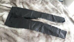 Hallhuber Coated Jeans Hose Lederoptik schwarz Gr. 36 wie NEU