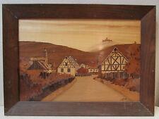 tableau marqueterie signé joseph aufderbruck alsace art populaire orschwiller 67