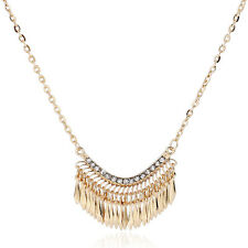 Fashion Womens Gold Bib Crystal Rhinestone Pendant Long Chain Statement Necklace