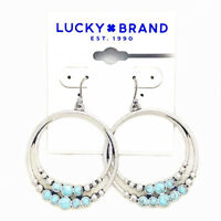 Lucky Brand Antiqued Silver Tone Turquoise Double Hoop Drop Earrings