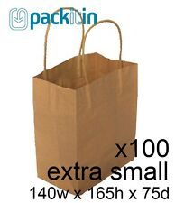 x100 EXTRA SMALL KRAFT paper gift CARRY tote party BAGS with handles (140x165mm)