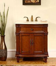 "30.5"" Single Bathroom Sink Vanity Bath Furniture Cream Marfil Marble Top 205Cm"