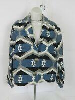 Dressbarn  Ikat Tribal Aztec Womens Blazer Jacket Size  M Black, White, Blue