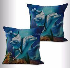 US SELLER-2pcs decorative pillows sealife marine nautical dolphin cushion cover