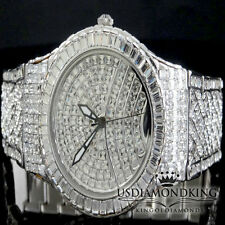 MEN'S NEW FULLY ICED OUT WHITE GOLD FINISH SWISS BLINGMASTER LAB DIAMOND WATCH