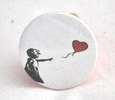 Chapa Pin Banksy 3,8cm niña perdiendo globo nueva fabricada a mano