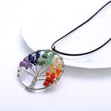 Amulet Crystal Quartz Tree of Life Pendant for Necklace Diy. 7 Chakra GEMSTONE