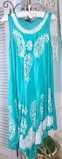 NEW~ Plus 2X 1X XL Mint Green Turquoise White Paisley Midi Boho Beach Sun Dress