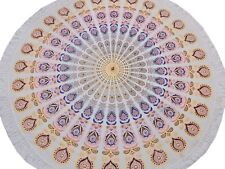 """White Peacock Fan Round Tablecloth Cotton Print Fringed Table Overlay Topper 70"""""""