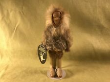 Vtg authentic native handicraft Alaska Eskimo real fur carved signed doll snow