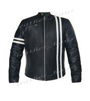 Genuine Leather Motorbike Bomber Biker Driver Style Jacket with White Stripe 507