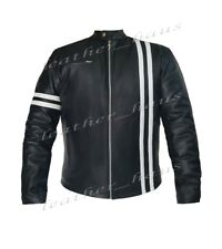 Genuine Leather Motorbike Bomber Biker Driver Style Jacket with White Stripe 507
