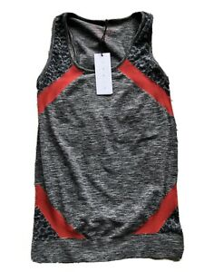 New Laain  Sport Activeweat Seamless  Vest  Top Grey / Red M/ L Running Yoga