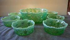 EAPG JEFFERSON GLASS GREEN OPALESCENT IDYLL BERRY SET 7 PCS