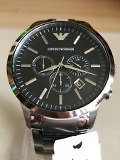 EMPORIO ARMANI MENS AR2460 WATCH BLACK DIAL STAINLESS STEEL.