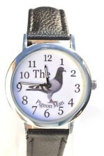 THE PIGEON MAN RACING HOMING PIGEON WATCH GIFT SUPERB DETAIL WITH BLACK STRAP