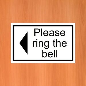Please ring the bell with a left arrow sticker 9408 self adhesive vinyl outdoor
