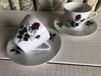 2 Vintage Bavaria West Germany SELTMANN WEIDEN Red Rose Porcelain Tea Cup Saucer