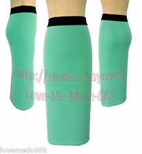 Womens Casual Wear to Work Party PENCIL Midi Skirts Dress Candy Color Green XS
