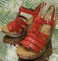 BORN RED LEATHER ANKLE STRAP OPEN TOE DRESS SHOES SANDALS HEELS WOMENS SZ 10 M
