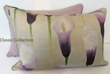 """VOYAGE """"ARUM LILY IRIS """"PIPED CUSHION COVER-CONTRAST BACK - various sizes"""