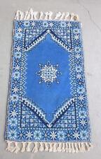 Teppich Marokko Wolle ca. 80x130 cm blau weiß handgeknüpft Berber (70x140)