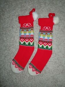 Vintage Christmas Knit Stocking Lot Of 2 Angels, Pom poms, 19 inch Knitted