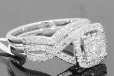 10K WHITE GOLD 1.19 CARAT WOMENS REAL DIAMOND ENGAGEMENT RING WEDDING BAND SET