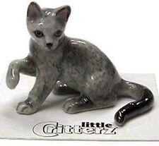 ➸ Little Critterz Cat Miniature Figurine Russian Blue Cat Kitten Silver