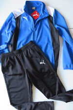 PUMA Sport JOGGINGANZUG JACKE m HOSE 152, Trainingsanzug 11 - 12 A, blau weiß s