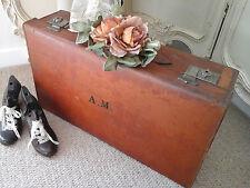 Antique Italian Leather Lg Suitcase~Interior/Theatre/Wedding Prop~Collector~1940