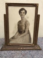 Antique Standing Wood Picture Frame - Image Of Young Woman - 6 X 10 Image