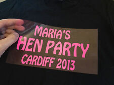 PERSONALISED IRON-ON T-SHIRT TRANSFER FOR HEN PARTY DO'S IDEAS BRIDESMAID