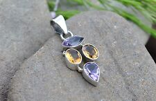 Amethyst, Citrine Pendant 925 Sterling Silver  With Gift Bag