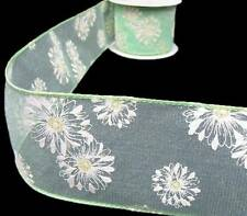 """10 Yards Green Yellow Flowers Sheer Wired Ribbon 2 1/2""""W"""